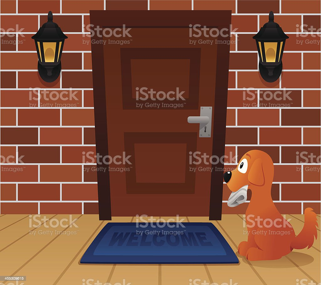 Dog waiting at front door vector art illustration