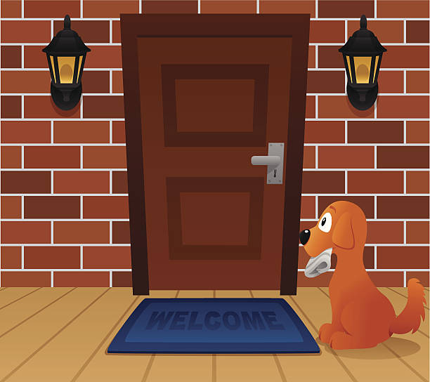 Dog waiting at front door Dog with newspapers waiting for his master. front stoop stock illustrations