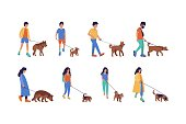 Group of walking people with dogs. Street style. Vector illustration in a flat style
