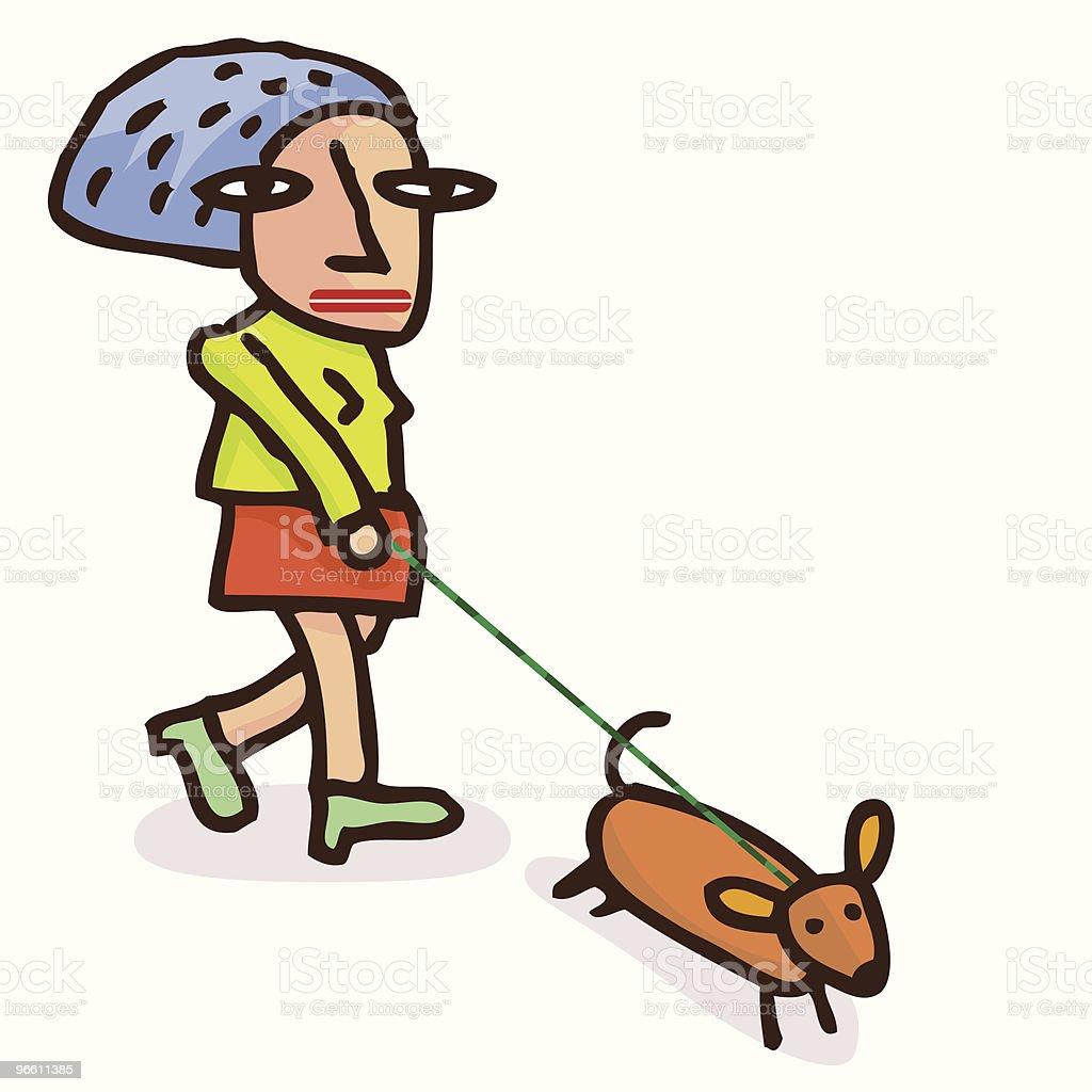 Dog Walk - Royaltyfri Blandrashund vektorgrafik