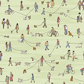 Seamless pattern with tiny people walking their dogs, coloured ink illustration
