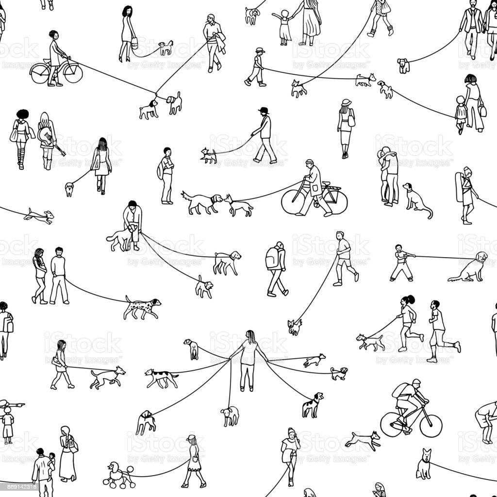Dog walkers in the park vector art illustration