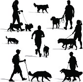 Vector illustration of people walking their dogs. Includes a man running with his dog.
