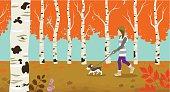 Dog walking in Autumn nature