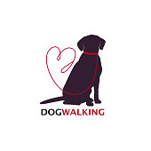 Dog walking logo template with sitting dog silhouette. Vector Illustration.