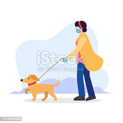 istock Dog walking rules during quarantine. Owner girl or sitter in a sterile medical mask, with blindfold, gloves and walking a dog on a leash in a collar. Vector flat modern illustration 1215552956