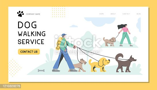 istock Dog walking service 1210320275