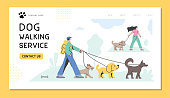 Professional dog walkers taking dogs for a walk. Fully editable vectors on layers.