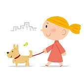 It is a hand drawing, a scene of a dog walking.