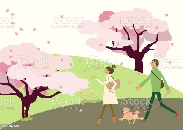 Dog walkingspring clip art scenery of cherry blossoms a couple of vector id902187838?b=1&k=6&m=902187838&s=612x612&h=itsaxj5igyseyqqfxzn4iwwjl06lhdjqrp6ik7y0lui=