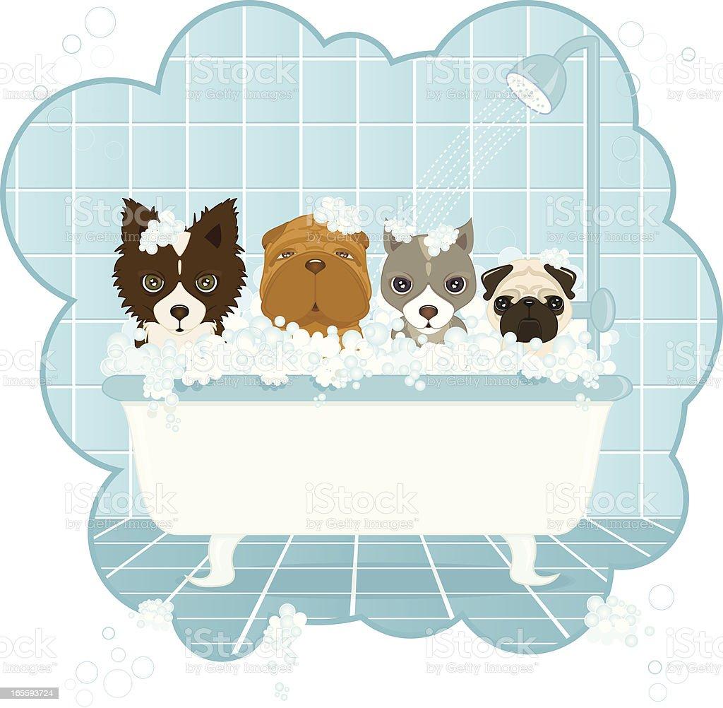 Dog Wash vector art illustration