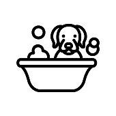 dog washing in bathtub icon vector. dog washing in bathtub sign. isolated contour symbol illustration