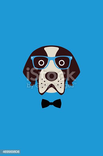 istock dog wear glasses and bowknot like a Gentlemen 469969806