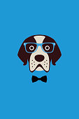 Gentlemen dog wear glasses and bowknot like a man, Fashion portrait of dog