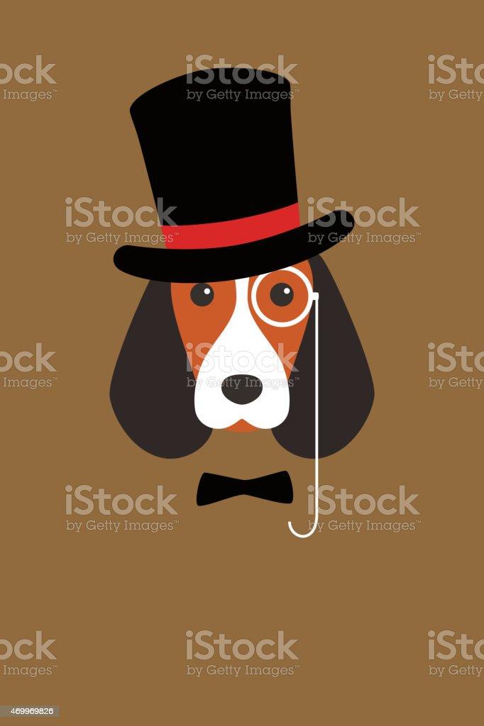 Retrato de moda de perro, señores perro - ilustración de arte vectorial