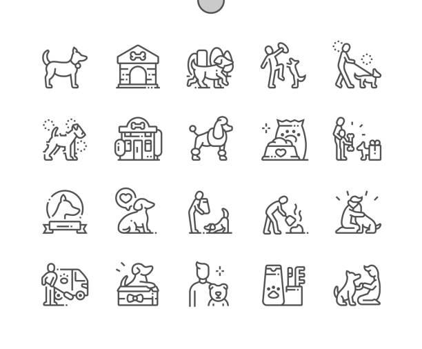 ilustraciones, imágenes clip art, dibujos animados e iconos de stock de perro bien elaborado pixel perfect vector thin line iconos 30 2x cuadrícula para gráficos web y aplicaciones. pictograma mínimo simple - mascota