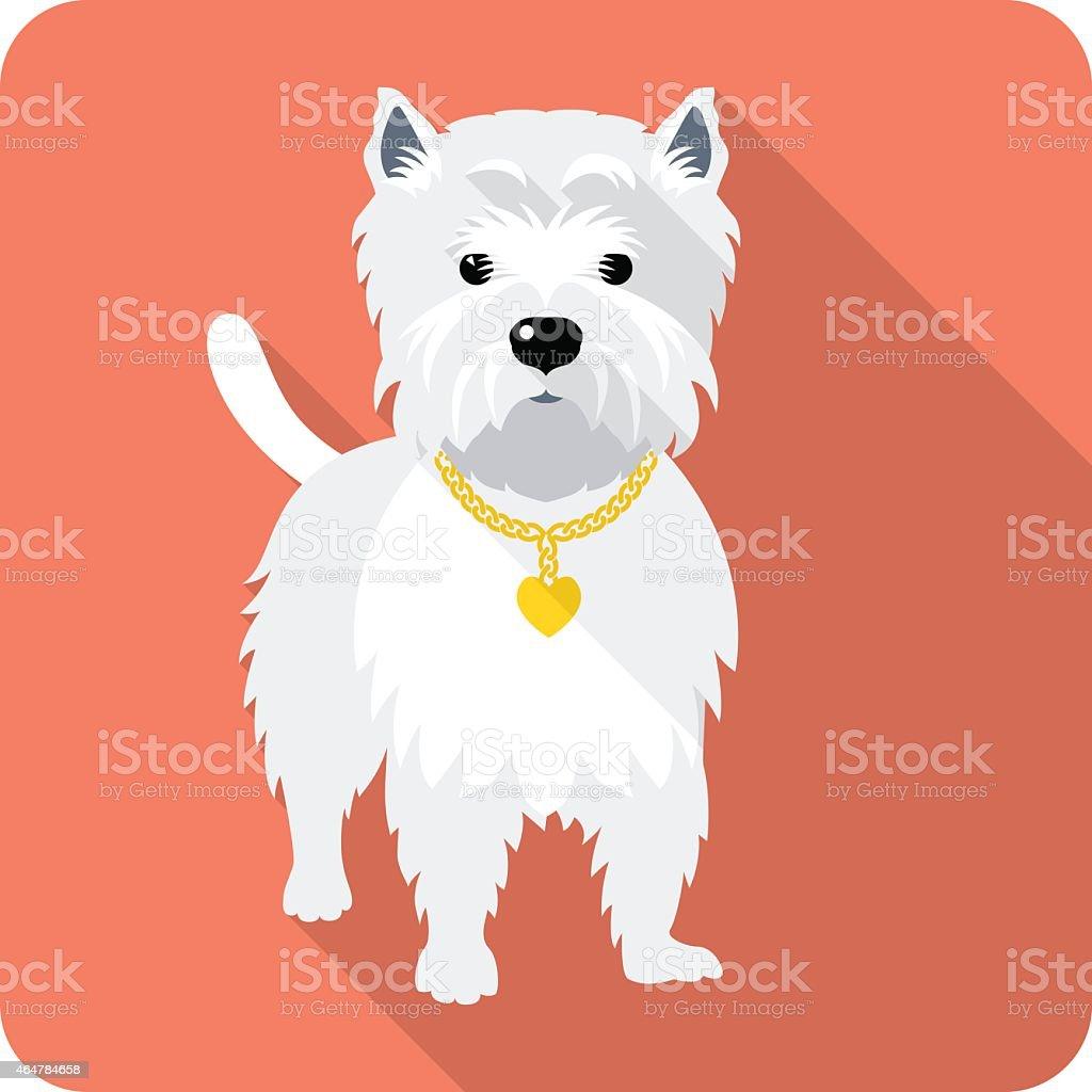 dog West Highland White Terrier icon flat design vector art illustration