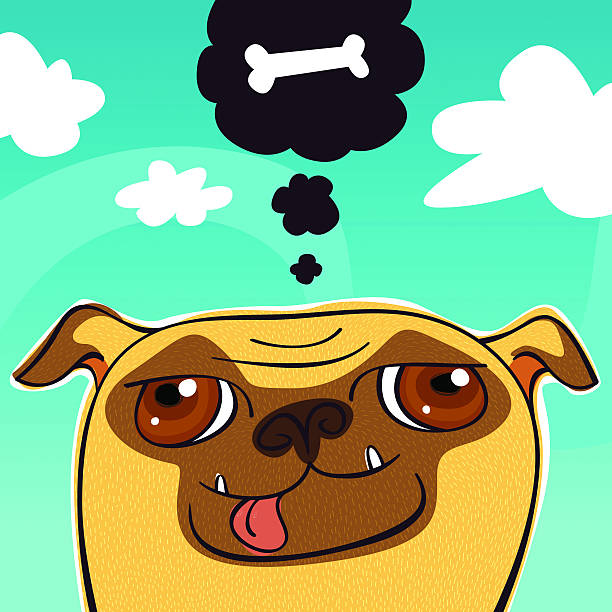 Dog - Wishing Pug vector art illustration