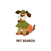Dog with a tube. Cute pet as a detective. Pet Search. Vector illustration in cartoon style with animal character