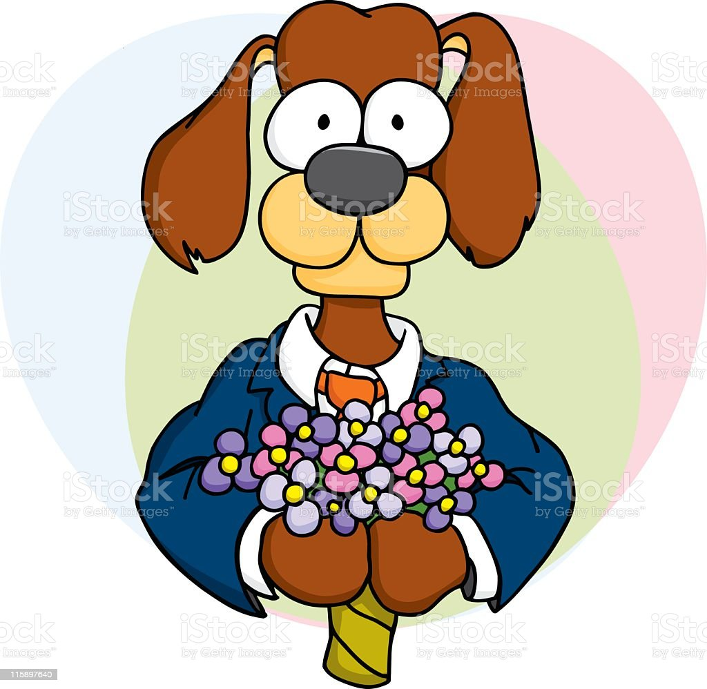 Dog with Bouquet royalty-free dog with bouquet stock vector art & more images of animal