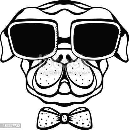 Dog with bow tie and glasses - vector artwork