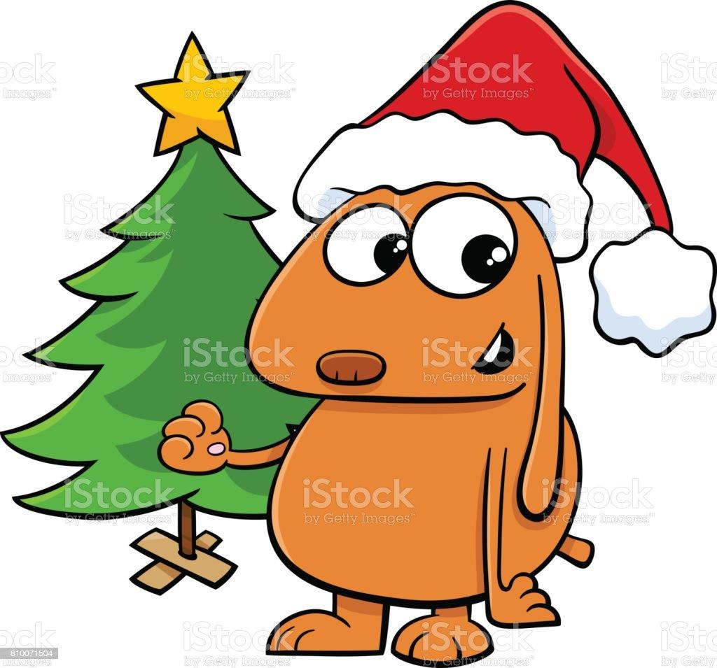 Chien Avec Sapin De Noël Dessin Animé Vecteurs Libres De