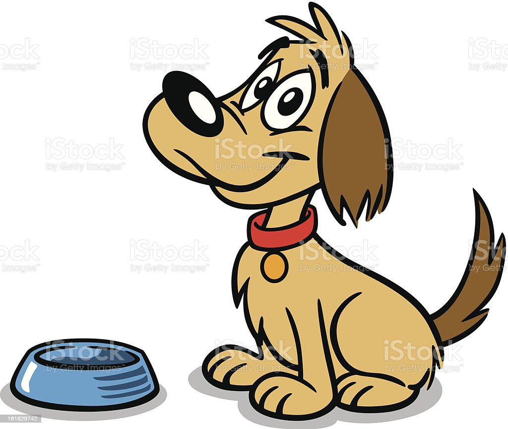 Dog With Dish vector art illustration