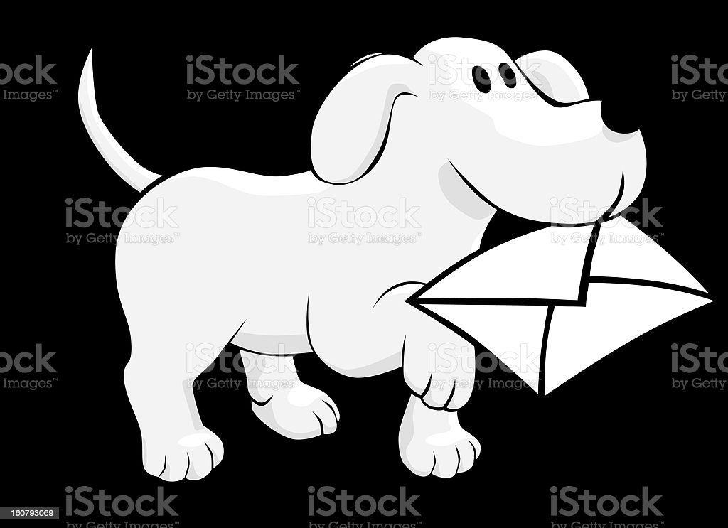 dog with mail vector art illustration