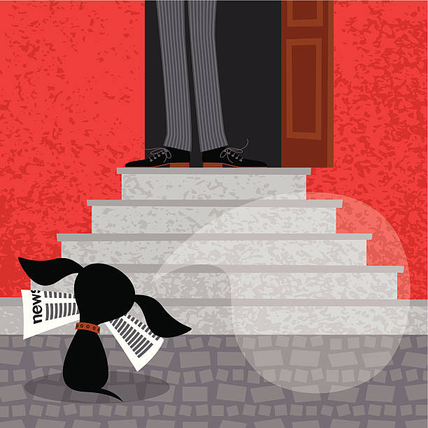 Dog with Newspaper. Dog with newspaper by house entrance of its owner. EPS 10. Use transparency. front stoop stock illustrations