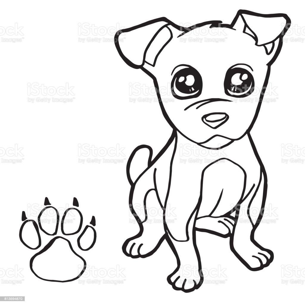 Ilustración de Perro Con Pata Vector Impresión De Página Para ...