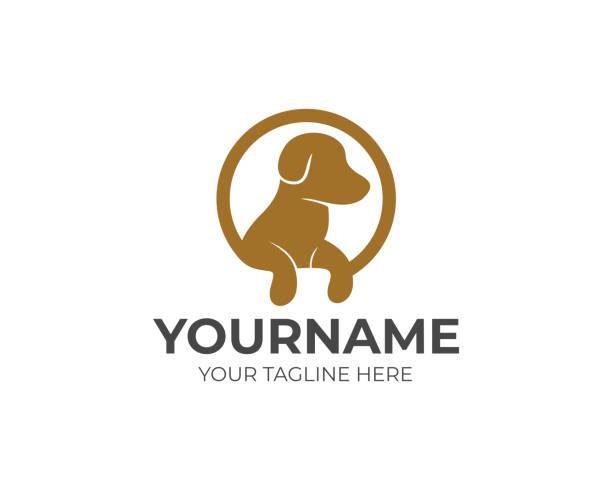 サークルのロゴの設計の足を持つ犬。ペットのラウンド形状のベクトル。動物イラスト - ペットショップ点のイラスト素材/クリップアート素材/マンガ素材/アイコン素材