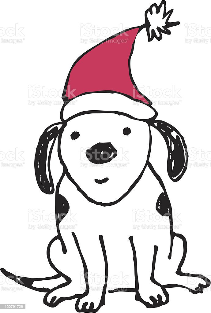 dog with santa hat stock vector art more images of animal rh istockphoto com