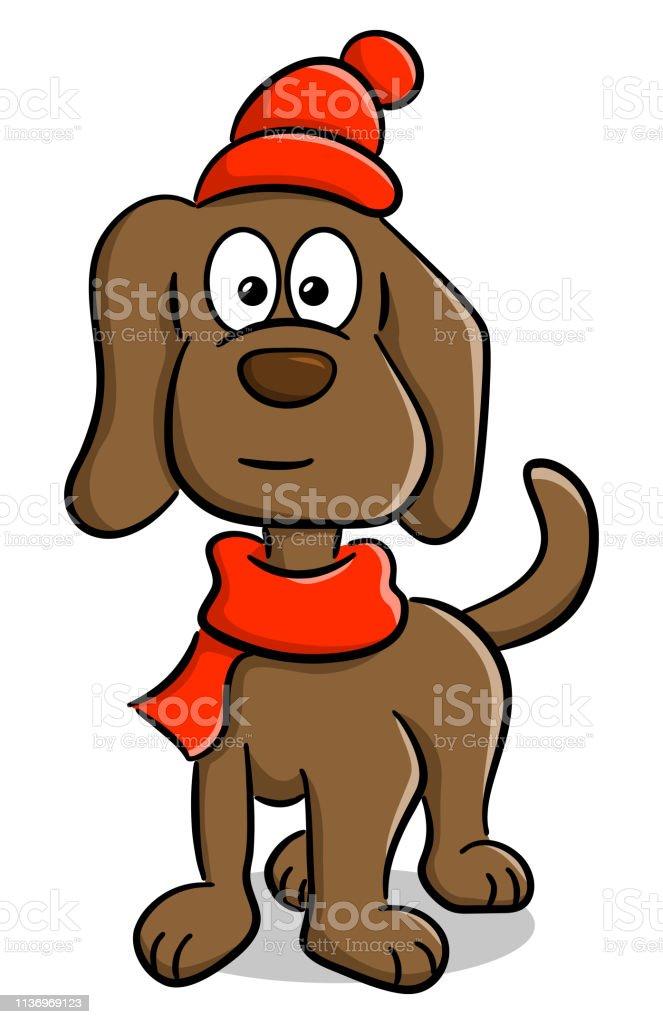スカーフと帽子をかぶった犬 イラストレーションのベクター