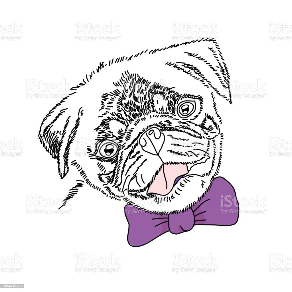 バイオレットのボウを持つ犬かわいいパグの肖像画ベクター スケッチ