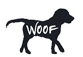 Dog Woof quote black silhouette isolated on white background. Lovely drawn animal profile. Simple graphic design for zoo pets shop, funny puppy hound character icon, vector illustration, eps 10
