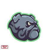 Bulldog. Icon isolated on background. Mascot, logo, sticker, print. Vector illustration, eps 10.