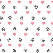 Seamless pattern vector with hearts and dog footprint.