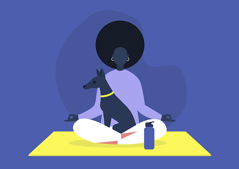 Doga, the practice of yoga as exercise with pet dogs, modern healthy lifestyle, young black female character sitting in lotus position with a puppy on their lap