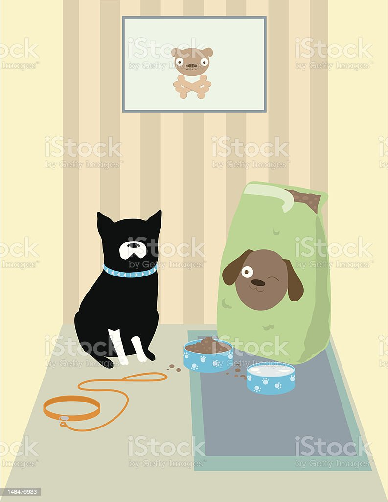 Doggy with Food vector art illustration