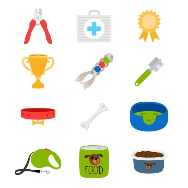 hundezubehör, lebensmittel, spielzeug, hilfskarton-vektorsymbole - hundehalsbänder stock-grafiken, -clipart, -cartoons und -symbole