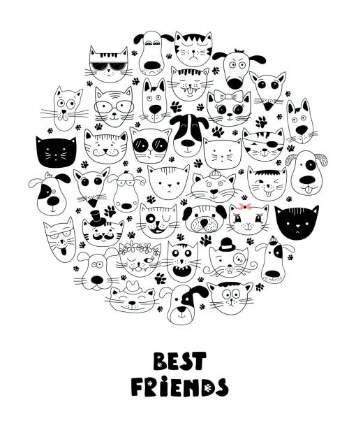 stockillustraties, clipart, cartoons en iconen met honden en katten beste vrienden. - miauwen