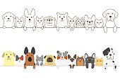 dogs and cats border set.