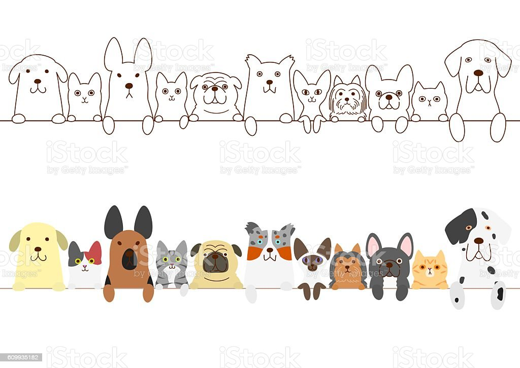 dogs and cats border set vector art illustration