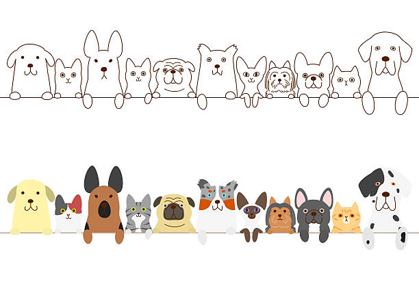 dogs and cats border set - ilustración de arte vectorial