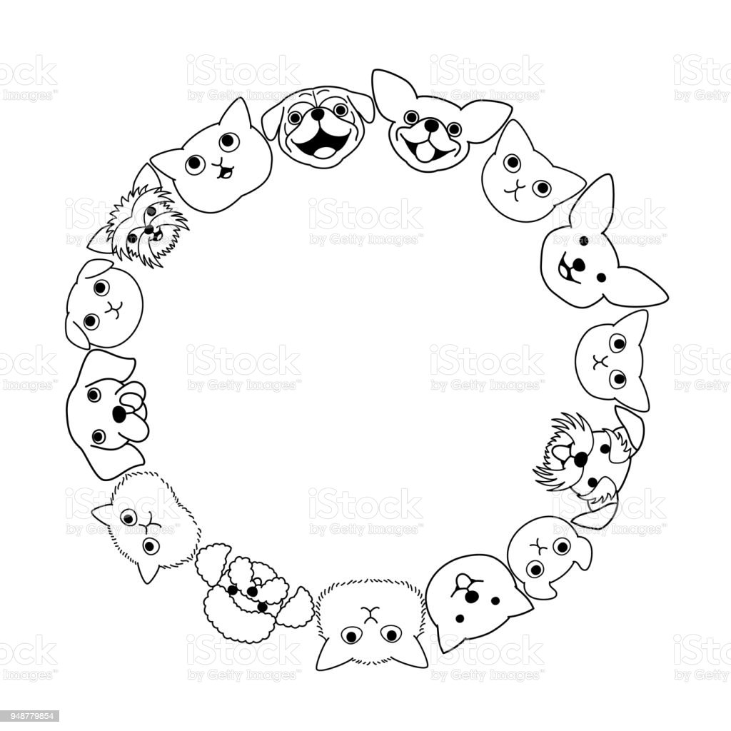 dogs and cats face circle vector art illustration