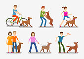Dogs, people icons set. Pets animals vector illustration