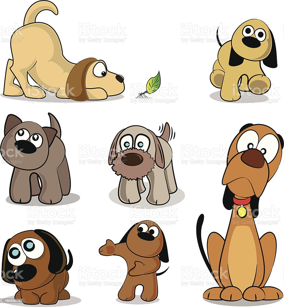Dogs and Puppies Cartoon Collection vector art illustration