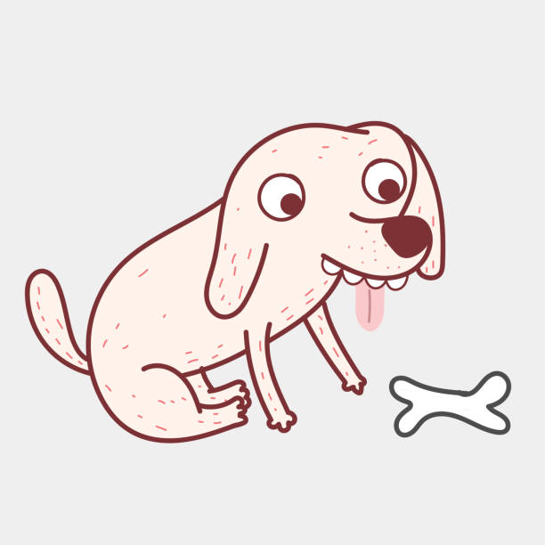Dogs are looking at their bones,which is a popular food.Doodle art concept,illustration painting vector art illustration