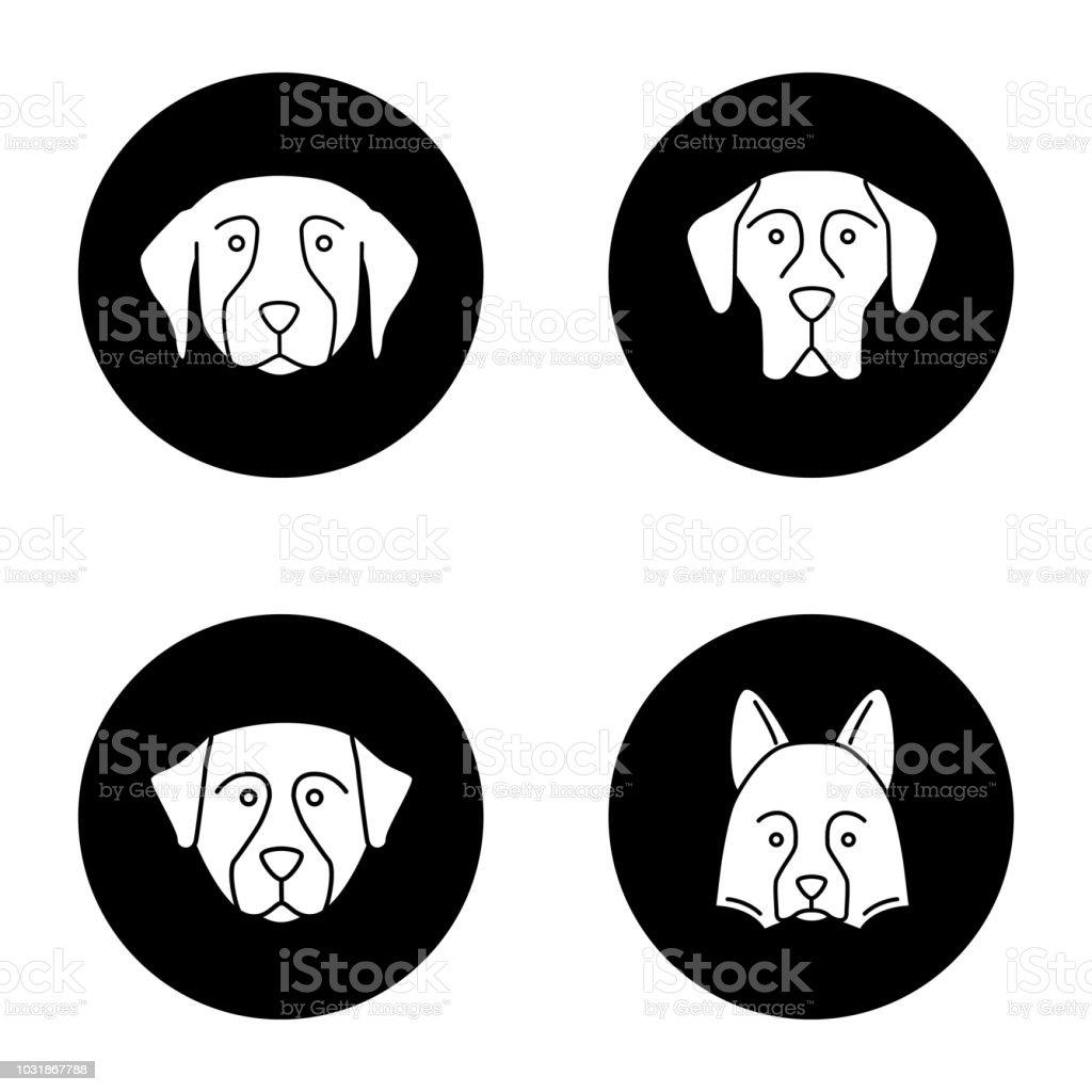 Dogs breeds icons set vector art illustration