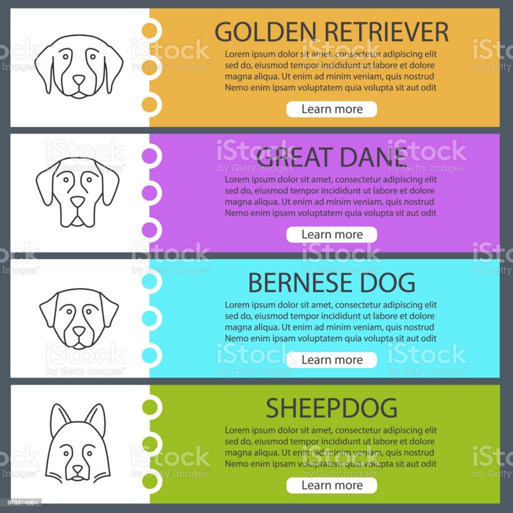 Dogs breeds icons vector art illustration
